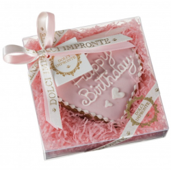 Dolci Impronte Biscotto Cuore Happy Birthday - Rosa