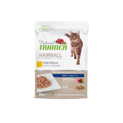 Natural Trainer Cat Adult HAIRBALL - BUSTA con Pollo 85g