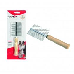 Camon Pettine doppio con denti fini e manico in legno
