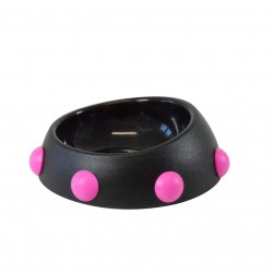 Ciotola Boss Nano 160 Ml nero con spikes rosa