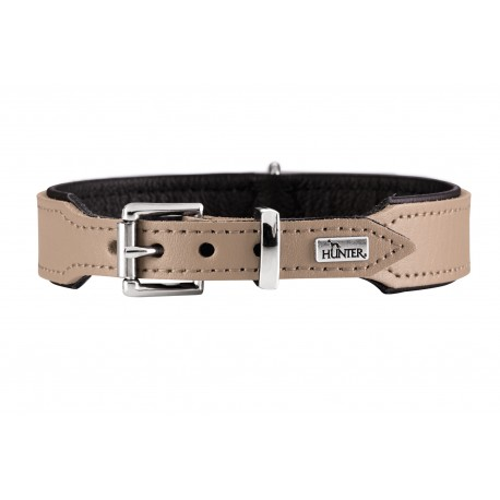 Hunter Halsband Basic Collare Pelle Hunter Beige & Nero