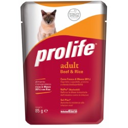 Prolife Cat Adult Manzo & Riso Bustina 85g