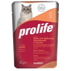 Prolife Cat MultiTaste Pollo con Salmone, Gamberetti e Carote Bustina 85g