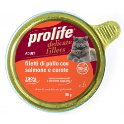 Prolife Cat Filetti di Pollo con Salmone e Carote 85g