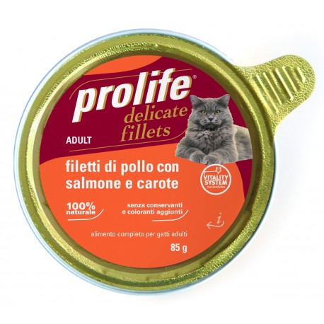 Prolife Cat Filetti di Pollo con Salmone e Carote 85g