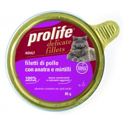 Prolife Cat Filetti di Pollo con Anatra e Mirtilli 85g