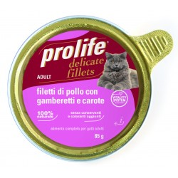 Prolife Cat Filetti di Pollo con Gamberetti e Carote 85g