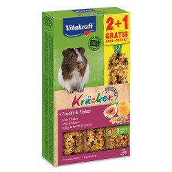 Vitakraft Kracker Frutta e Fiocchi di Cereali per Porcellini d'India 2+1