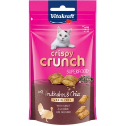 Vitakraft Cat Crispy Crunch Superfood Snack con Ripieno di Tacchino e Chia 60g
